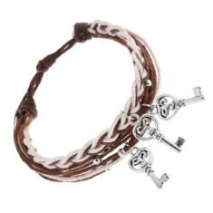 Brățară ajustabilă cu șnururi maro și albe, chei din oțel