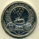 Moneda jubiliara Anglia - 1 lira 2010 - Heraldica - Belfast, Europa, Cupru-Nichel