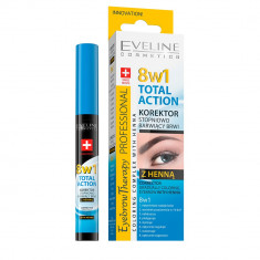 Corector sprancene cu hena Eveline Cosmetics, 8 in 1 Total Action cu colorare progresiva, 10 ml