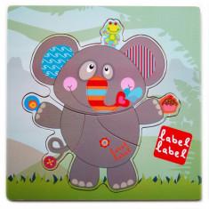 Puzzle din lemn Label-Label Elefant