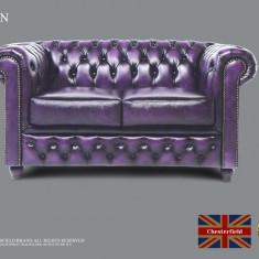 Canapea din piele naturală -2 locuri-violet Antique -Autentic Chesterfield Brand