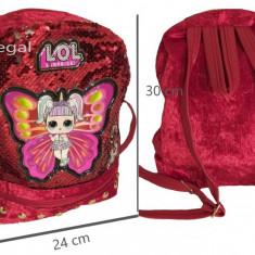 Ghiozdan tip LOL pentru fete, cu paiete reversibile 30 cm x 24 cm rosu, Fata