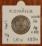 1 leu 1894, România, argint