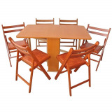 Set masa pliabila Practic cires cu 6 scaune