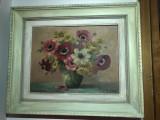 Tablou vechi,pictura pe panza  inramata reprezentand flori