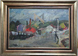 Tablou, Eugen Ispir , Peisaj citadin, ulei / carton | arhiva Okazii.ro
