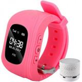Ceas cu GPS Tracker si Telefon pentru copii iUni Kid60, Bluetooth, Apel SOS, Activity and sleep, Roz + Boxa Cadou