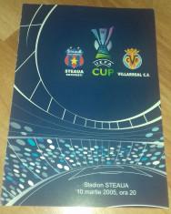 Program Fotbal Steaua - Villareal CF  2005 Cupa UEFA bilet Romania foto