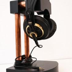 SUPORT CASTI HANDMADE STATIV STAND lemn masiv tamplarie hifi audio LA COMANDA