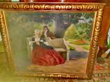 B882-Nagy Vilmos-pictor maghiar-scena galanta epoca-ulei/panza., Scene gen, Realism
