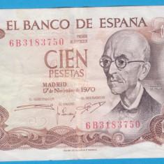 (1) BANCNOTA SPANIA - 100 PESETAS 1970 (17 NOIEMBRIE), PORTRET MANUEL DE FALLA