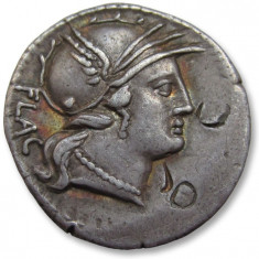Republica Romana.Denarius, L. Rutilius Flaccus, Rome 77 B.C