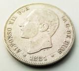 SPANIA - 2 Pesetas 1881 MS M - Alfonso XII - Argint, Europa