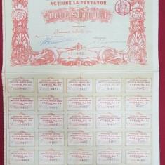 ACTIUNE LA PURTATOR DE DOUA SUTE LEI, INSTITUTUL BALNEAR SINAIA - BUCURESCI 1912