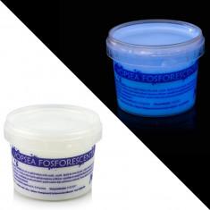 Vopsea glow in the dark fosforescenta, luminescenta, transparenta care lumineaza albastru