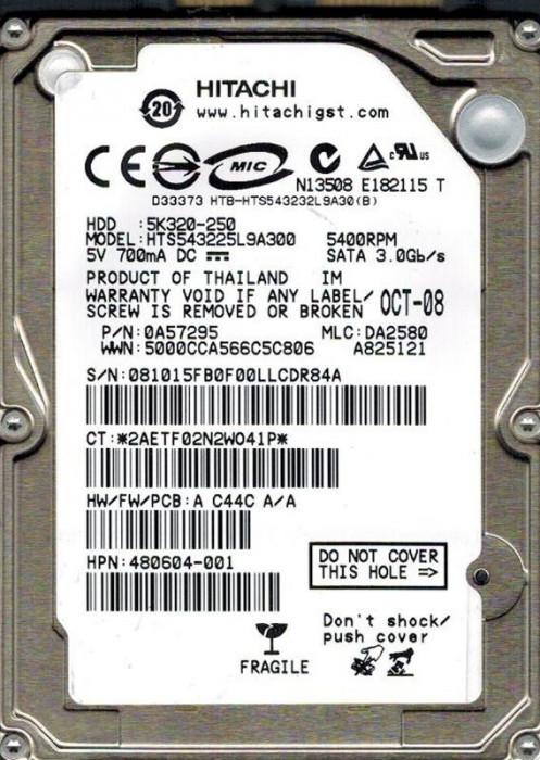 hdd Hard Disk laptop HGST Travelstar 5K320 HTS543225L9A300 5K320 250 GB - SATA