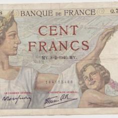 FRANTA 100 FRANCI FRANCS 1940 SULLY UZATA