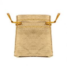Săculeț pentru cadou din material, de culoare aurie, șnururi
