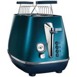 Prajitor de paine De'Longhi Distinta CTI2103.BL, 900 W, 2 Felii, Control electronic rumenire, Suport de incalzire, Blue