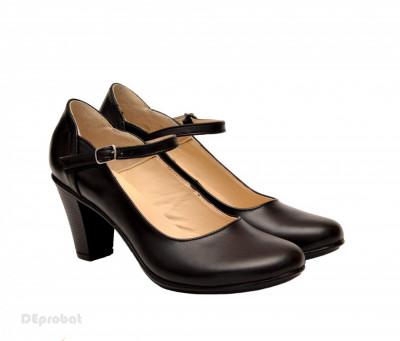 Pantofi dama eleganti din piele naturala negri cu toc de 7 cm foto