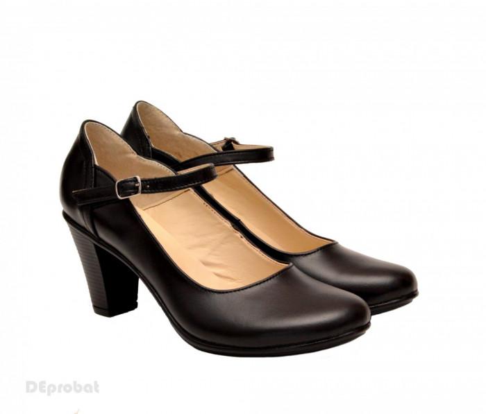 Pantofi dama eleganti din piele naturala negri cu toc de 7 cm