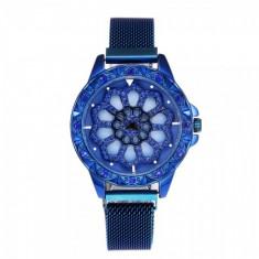 Ceas de dama elegant Geneva CS1014, bratara magnetica, cadran rotativ, model albastru