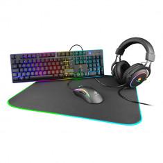 Kit gaming 4in1 DELTACO GAMING RGB, tastatura, mouse, casti si mousepad