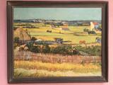 Tablou,litografie rustica suedeza,peisaj de la tara,rama din lemn