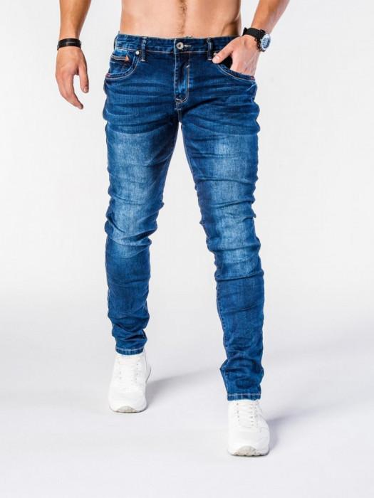 Blugi pentru barbati, albastri, slim fit, conici, casual, skinny - P580