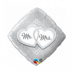 Balon nunta argintiu din folie 43cm Mr & Mrs