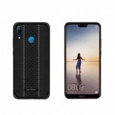 Carcasa protectie spate din piele ecologica si gel TPU pentru Huawei P20 Lite neagra