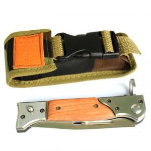 Cutit briceag inscriptionat AK-47 CCCP 22 cm, husa camuflaj din material textil