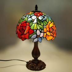 Lampă de noptieră cu trandafiri în stil Tiffany, ADM