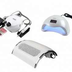KIT aparate, Lampa Uv LED Sun5, Freza unghii 35000RPM, Aspirator praf 40W