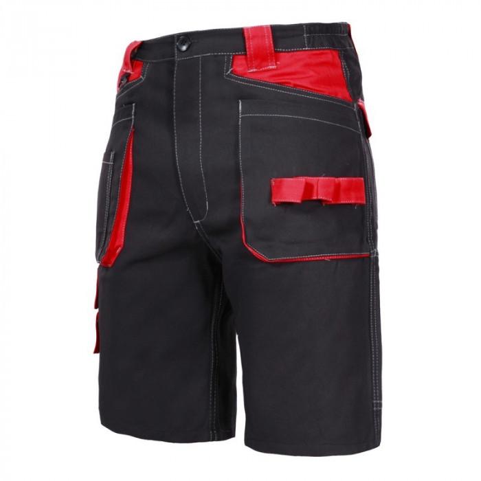 Pantaloni lucru scurti, 100% bumbac, cusaturi triple, talie ajustabila, marime 3XL, Negru