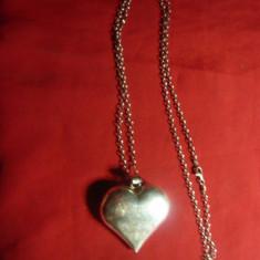 Lant si medalion inima cu dedicatia -Always yours Dan - Argint marcat ,70cm+5cm