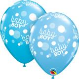 """Baloane latex 11""""/28 cm Blue - Baby Boy, Qualatex 55988"""