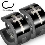 Cercei oțel, cercuri negre - cruce argintie