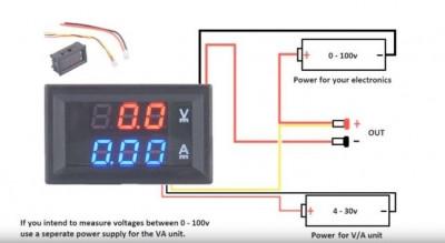 Voltmetru si Ampermetru Voltampermetru de panou LED Digital  DC 0-100V 0-10A foto
