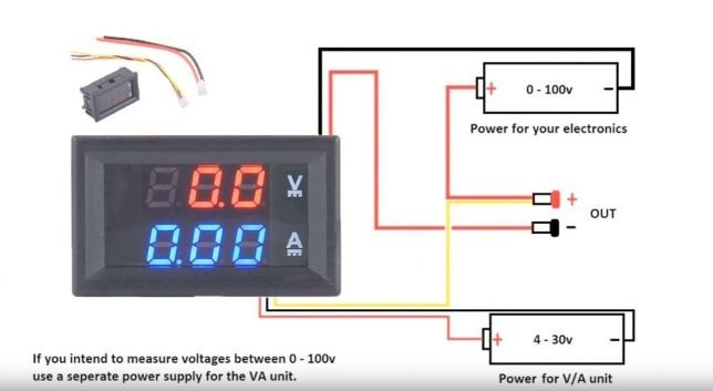 Voltmetru si Ampermetru Voltampermetru de panou LED Digital  DC 0-100V 0-10A
