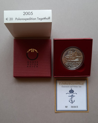 Moneda de argint - 20 Euro 2005 Austria - calitate Proof foto