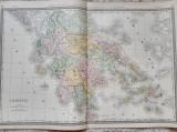 Harta a Greciei, tiparita in 1882