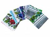 Set 5 prosoape/servete de bucatarie, model traditional cu flori, 100% bumbac
