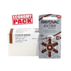 Baterii Rayovac 312 pentru aparate auditive Economy Pack 60 baterii