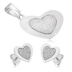 Set din oțel - pandantiv și cercei, inimi simetrice, centru sablat