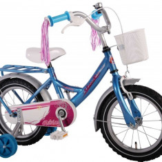 Bicicleta fetite 14 inch Volare Bike cu roti ajutatoare cosulet portbagaj metal si pompoane la ghidon