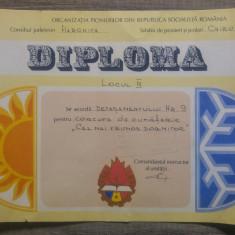 Diploma Organizatia Pionierilor din RSR// Harghita, Chirui-Bai
