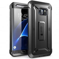 Carcasa 360 grade Supcase Unicorn Beetle Pro Samsung Galaxy S7 Edge cu protectie display, Negru, Plastic