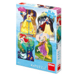 Puzzle 4 in 1 - Printesele si prieteni (54 piese) PlayLearn Toys