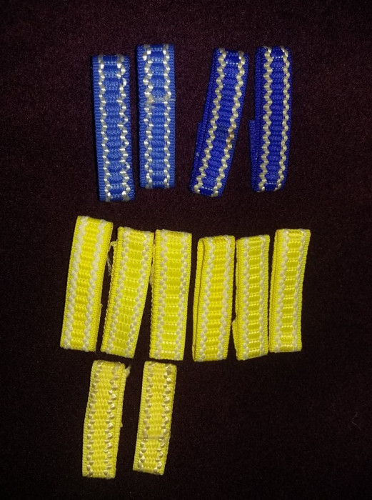 Pereche trese albastre si galbene Pionieri,nefolosite.trese pioneresti,T.GRATUIT